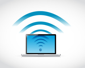 laptop connection wifi illustration design