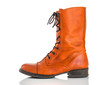 Stylish orange leather boot