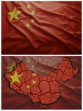 China flag and map collage