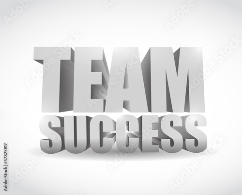 team success 3d text sign illustration design
