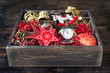 Christmas toys and gifts in vintage wooden box