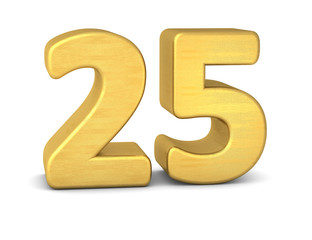 zahl cipher 25 gold vertikal