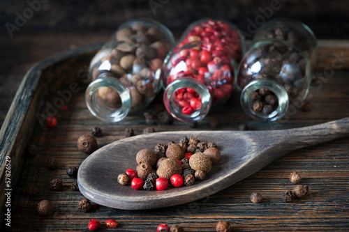 Peppercorns on a vintage tray