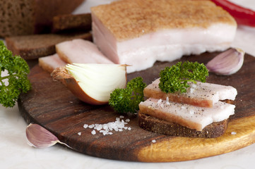Salted pork lard (salo) on rye bread