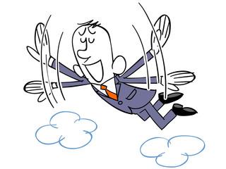 天にも昇る心地のビジネスマン
