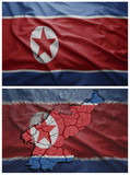 North Korea flag and map collage