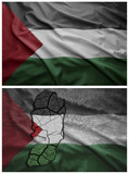 Palestine flag and map collage