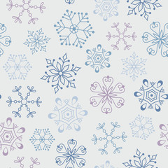 Seamless vintage pattern with abstract snowflakes