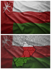 Oman flag and map collage