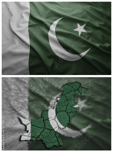 Pakistan flag and map collage