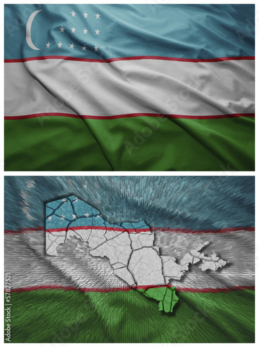Uzbekistan flag and map collage