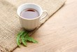cup of tea with green leaf on wooden board