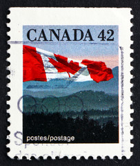 Postage stamp Canada 1991 Canadian Flag and Hills