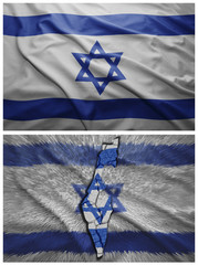 Israel flag and map collage