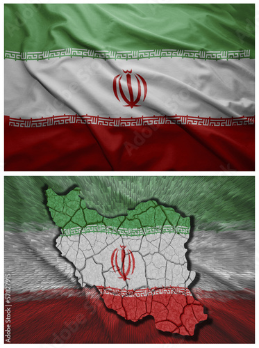 Iran flag and map collage