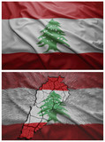 Lebanon flag and map collage