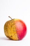 stapled apple halves, young and old, metaphor plastic surgery