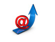 email marketing concept illustration with up blue arrow