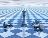 abstract surreal background with blue chess and chessboard