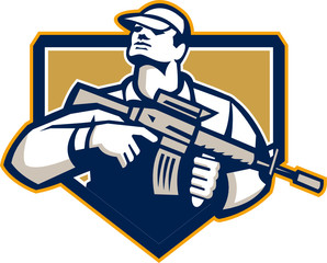Soldier Military Serviceman Assault Rifle Retro