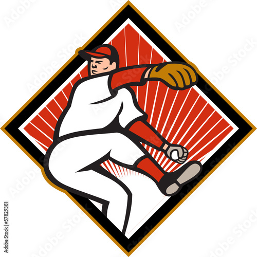 American Baseball Pitcher Throwing Ball Cartoon