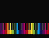 Piano with Colorful Keyboard Vector Illustration