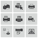 Vector balck printer icons set