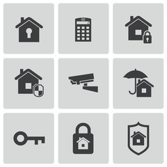 Vector black home security icons set