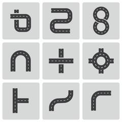 Vector black road elements icons set