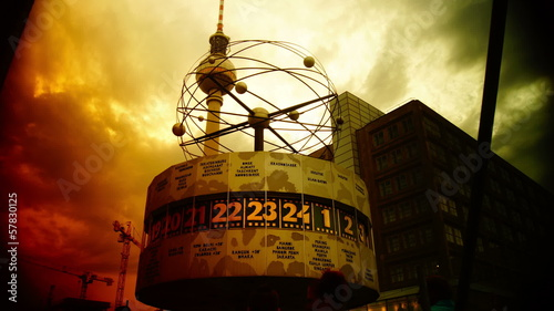 The World clock with the Fernsehturm in the background
