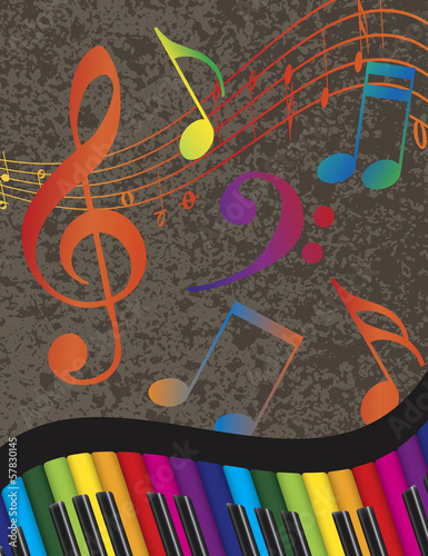 Piano Wavy Border with Colorful Keys and Music Note