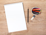 Blank paper and colorful pencils
