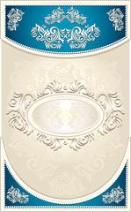 Vintage Frame or label with Floral background in blue beige