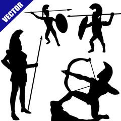 Set of spartan hoplite silhouettes