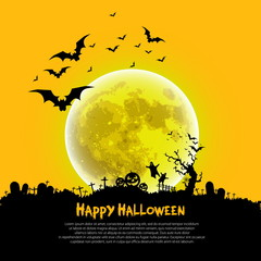 Happy Halloween sign and theme design background - vector illust