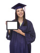 Female Graduate in Cap and Gown Holding Blank Computer Tablet