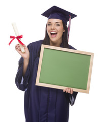 Female Graduate in Cap and Gown Holding Diploma,.Blank Chalkboar
