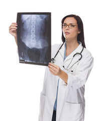 Mixed Race Female Doctor or Nurse Reviewing X-ray on White