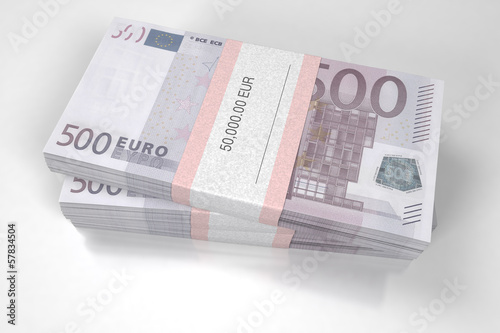 Packets of 500 Euro bills