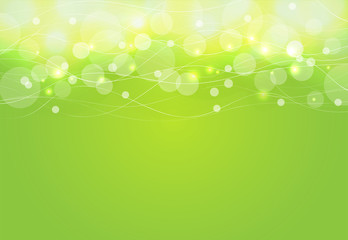 Abstract circle and curve on green Background