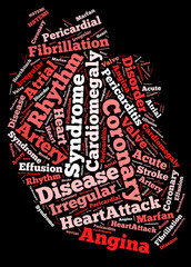 Heart disease word collage concept.