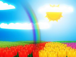 Tulip field under sun