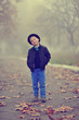 cute boy in a hat walking in the park in autumn mist