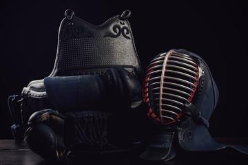 Kendo protection gear, horizontal shot, dark background