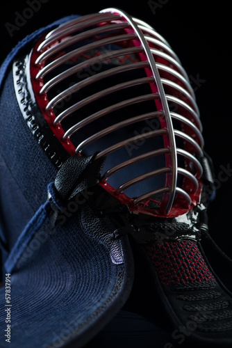 Vertical shot of kendo protection helmet, close-up