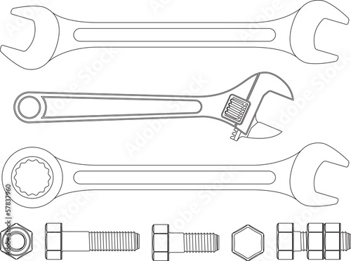 Spanners Wrench, Nuts & Bolts B*W