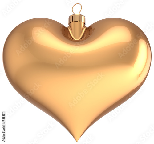 Christmas ball gold heart shaped decoration New Year bauble