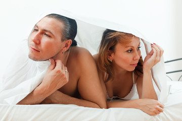 Unhappy man and woman having  problem