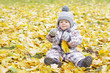 lovely baby age of 1 year with yellow leaf outdoors