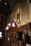 Preaching on a pulpit
